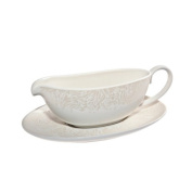 Denby Monsoon Lucille Sauce Jug and Stand, Gold/ Cream