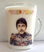THE BEATLES, PAUL McCARTNEY WHEN I'M 64 GLASS COFFEE MUG