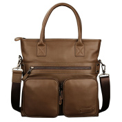 ONEWORLD New Brand Men Business Casual Genuine Cowhide Briefcase Handbag Khaki