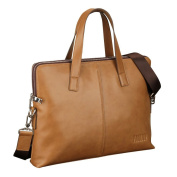 ONEWORLD High Quality Men's Double Tote Real Cattle Hide Leather Handbag Bussiness Utility Clutch One-Shoulder Bag