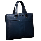ONEWORLD New England Style Business Multifunction Genuine Cowhide Briefcases Fashion Full Grain Leather Handbags Blue