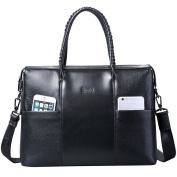 ONEWORLD New Men Genuine Cowskin Handbag Kraft First Layer Briefcase Messenger Shoulder Bags Black