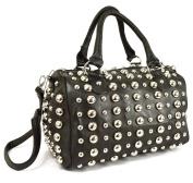 GFM Fashion Faux Leather Holdall Handbag with Metal Studs Shoulder Bag