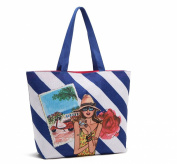 Oath_song Women's Polyester Cartoon Drawing City Girl Print Tote Shoulderbag