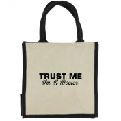 Trust Me I'm a Doctor in Black Print Jute Midi Shopping Bag with Black Handles and Trim