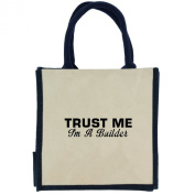 Trust Me I'm a Builder in Black Print Jute Midi Shopping Bag with Navy Handles and Trim