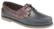 Mens Navy Blue / brown Leather Moccasin Boat Shoes NEW