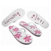 X45 Ladies Large UK 7-8 EU 40-41 Honeymoon Flip Flops White & Pink Floral Design