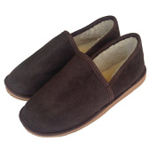 Genuine Mens Sheepskin Slippers - Hard Sole - Chocolate