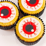Halloween Spooky Eyeball Cake Toppers Edible Wafer 24x4cm Pre-cut and ready to use