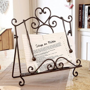 Vintage Parisian Antique Brown Wrought Iron Recipe Cook Book Holder Stand - An Ideal Gift For A Cook Or A Baker - W29 x H34.5 x D7.5cm