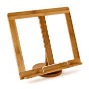 Relaxdays Bamboo Cookbook Stand Recipe Holder Rotatable by 360 Degree with Side Holder, Brown
