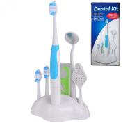 DENTAL CARE KIT TEETH POLISHING WHITENING SONIC TOOTHBRUSH TRAVEL SET 3 HEAD PLUS TONGUE CLEANER DENTAL FLOSS AND MIRROR