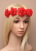 Allsorts® Large Red Flower Headband Festival Boho Wedding Garland Forehead Hair Head Band