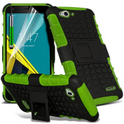 Fone-Case Green Vodafone Smart Ultra 6 Case Shock Absorbant Dual Layer Cover with Upright Stand Option including 1 Screen Protector and 1 Colour Coded Aluminium Adjustable Pen