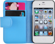 iPhone 4 Case - Leather Wallet Flip Cover for iPhone 4 and 4S, Blue