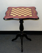 Sculpted Briarwood Wine Floral Lacquered Chess Table