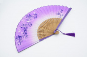 """OMyTea® 8.27""""(21cm) Women Hand Held Silk Folding Fans with Bamboo Frame - With a Fabric Sleeve for Protection for Gifts - Chinese / Japanese Style Butterflies & Morning Glory Flowers Pattern"""