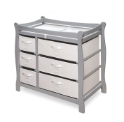 Badger Basket Sleigh Style Changing Table with Six Baskets, Grey
