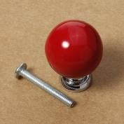 BoatShop Round Ceramic Classic Pure Colourful Simple Elegant Door Knob, Red