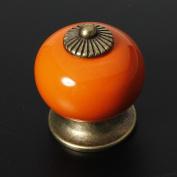 BoatShop Ceramic Zinc Alloy Door Cabinet Knob 5 Colours, Orange