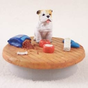 "Bulldog White Candle Topper Tiny One ""A Day at Home"""