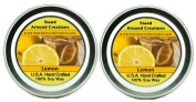 Premium 100% Soy Candle Set of 2- 60ml Tins Lemon - True citrus. A energising aroma. This fragrance is made with natural essential Lemon oil.