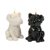Biedermann & Sons 4 Count Assorted Bulldog Pups Candle, Ivory/Black