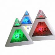 Sandistore Pyramid Temperature 7 Colours LED Change Backlight LED Alarm Clock