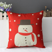 Cotton Linen Pillow Case Cushion Cover Home Decorative Snowman 46cm X 46cm