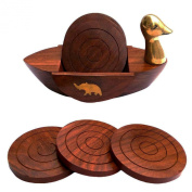 Wooden Duck Shaped Drink Coster By Affaires Suitable for Wine Glasses, Beer Bottles, Whiskey Glasses and Any Hot and Cold Drinks W-40020