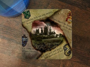Hufflepuff Gryffindor Hogwarts Slytherin Ravenclaw Newspaper Design Pattern Print Silicone Drink Beverage Coaster 4 Pack by Trendy Accessories