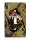 Hufflepuff Gryffindor Hogwarts Slytherin Ravenclaw Newspaper Design Pattern Print Light Switch Plate