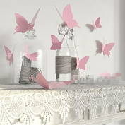 easygogo® 12Pcs Pink 3D Decorative Butterflies Removable Wall Art Sticker For Home Decor Wedding Party Decoration