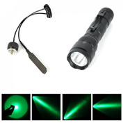 1Pc Culmination Popular Green LED 1000LM Flashlight Hunting Torch Clip Coated Glass Lens Remote Light Colour Black with Pressure Switch