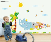 MLMSZ Elephant Cartoon Children's Room Nursery Removable Vinyl Wall Stickers Baby Stickers Wall Decals for Kids' Rooms