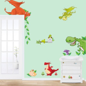 MLMSZ Cute Colourful Dinosaur Zoo Children's Room Decor Kindergarten Boys And Girls Bedroom Furnished Cartoon Sticker Removable Vinyl Wall Stickers