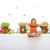 MLMSZ Owl Rabbit Snail Birds Stump Green Removable Vinyl Wall Sticker Home Decals Cartoon for Kids' Room