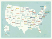 USA Wall Map Art Print, 60cm x 46cm ,kid's USA Wall Map,children's Room Decor, Gender Neutral Nursery, Travel Nursery Decor,united States of America Map, Capital Cities of the United States