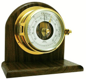 Fischer Instruments 1605B-45-1B 15cm - 1.6cm Solid Brass Nautical Open Face Barometer with Walnut Mantle Mount