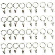 Metal Curtain Rings with Clips Silvery white Colour - Clip Rings for Curtains - Great Curtain Rings for Your 2.5cm Curtain Rod Pack of 32 Pcs