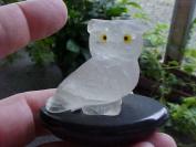 Car5216 Frosted Quartz Owl in Black Base