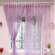 Wensltd. Purple Willow Tulle Door Window Curtain Scarf Valances