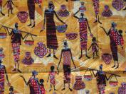 Yellow Black Women and Vase Ethnic Window Curtain Valacne
