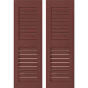 Ekena Millwork RWL18X057CRP Exterior Real Wood Pine Louvred Shutters (Per Pair), Cottage Red, 46cm W x 140cm H