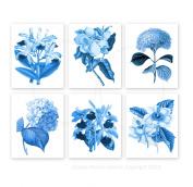 Blue Flowers Botanical Prints Set of 6 Reproduction Unframed Girls Room Wall Art Prints