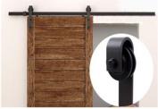1.8m Sliding Door Closet Hardware Track Set 180cm Rail Modern Style Black Barn Wood
