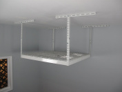 SafeRacks - Medium Duty 4x 4 Overhead Storage Rack (60cm - 110cm Ceiling Drop) - White with 2 free Hooks