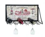 Benzara Vintage Vineyard Wine and Stemware Rack