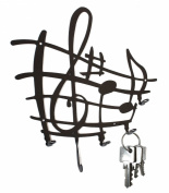 Sheet of Music - Notes - KEY Hook Wall Key Holder Hanger - Steel Design Black